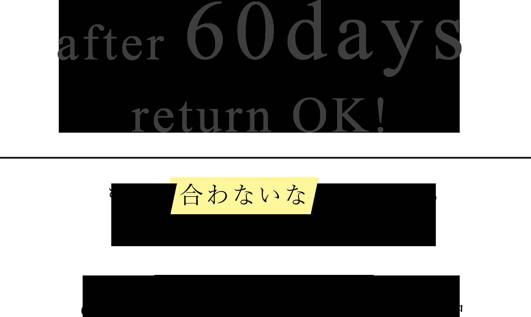 60日間返品・返金保証お試し購入キャンペーン実施中